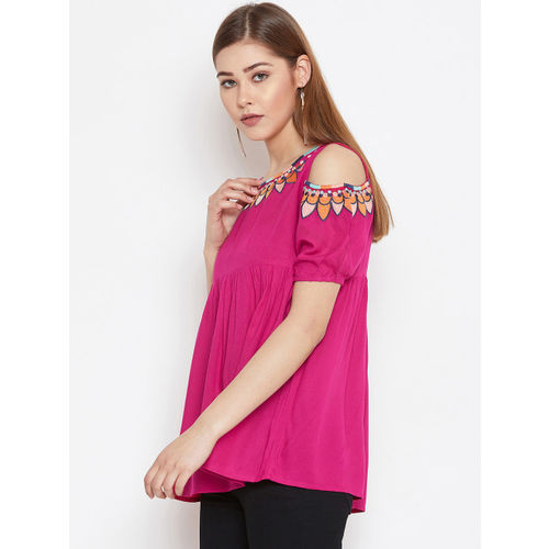 FIZERA Women Pink Solid Top