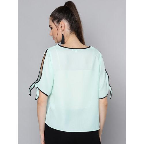 VividArtsy Women Sea Green Semi-Sheer Solid Top
