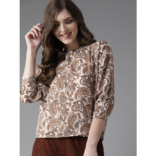 Moda Rapido Women Cream-Coloured & Brown Paisley Printed Top