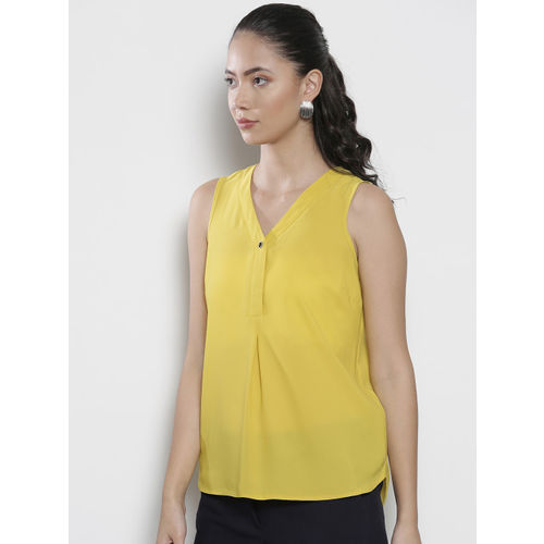 DOROTHY PERKINS Women Yellow Solid A-Line Top