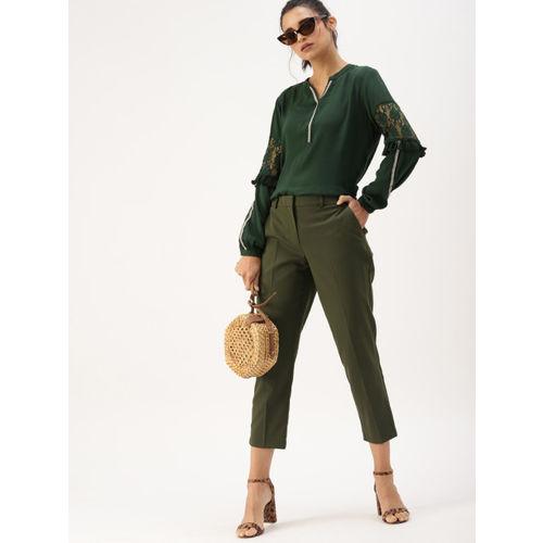 DressBerry Women Green Solid Regular Top