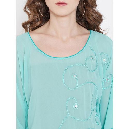 The Kaftan Company Women Blue Embellished Kaftan Top