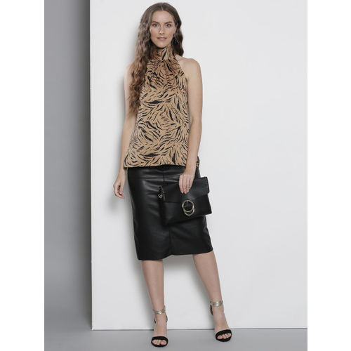 DOROTHY PERKINS Women Beige & Black Printed Top