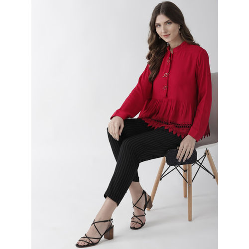 plusS Women Red Solid A-Line Top