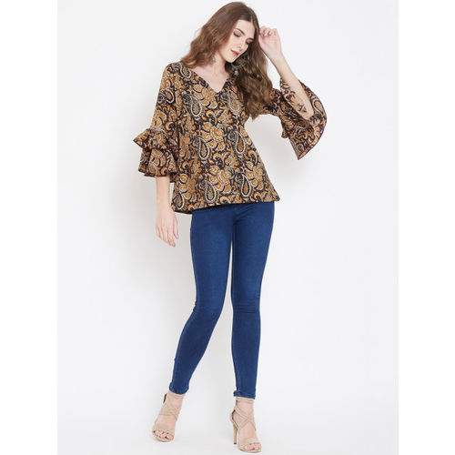 The Kaftan Company Women Brown Printed A-Line Top