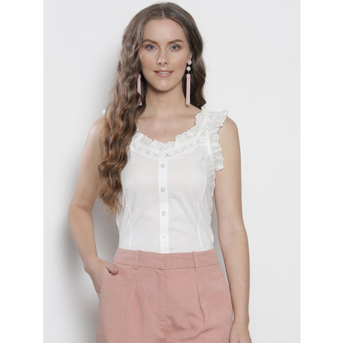 DOROTHY PERKINS Women White Solid Embroidered Detail Fitted Top