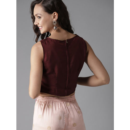 HERE&NOW Women Burgundy Solid Crop Top