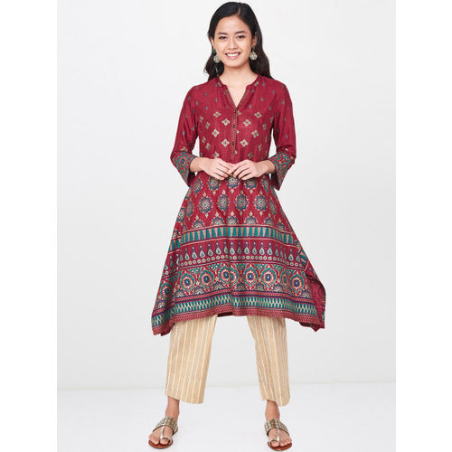 Global Desi Women Maroon Printed A-Line Kurta