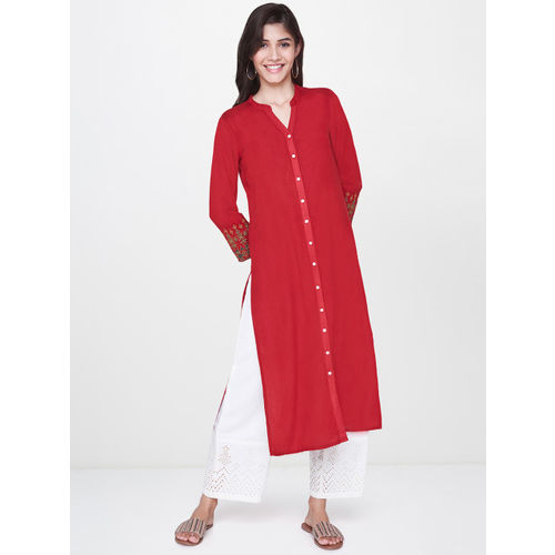 Global Desi Women Red Solid Straight Kurta