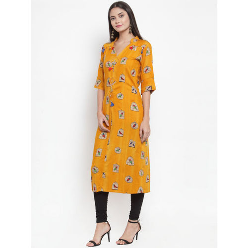 Aujjessa Women Mustard Yellow Printed Straight Kurta