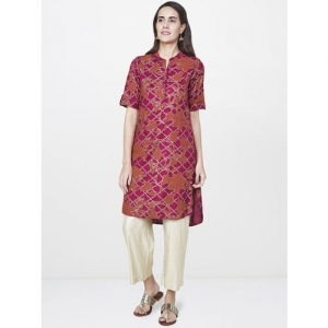 Global Desi Women Magenta Pink & Gold-Toned Printed Straight Kurta