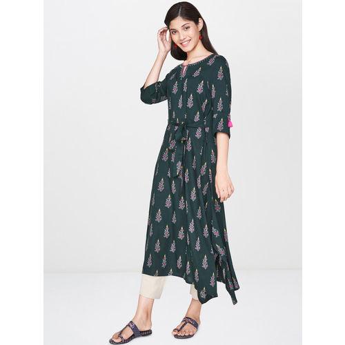 Global Desi Women Green Printed A-Line Kurta