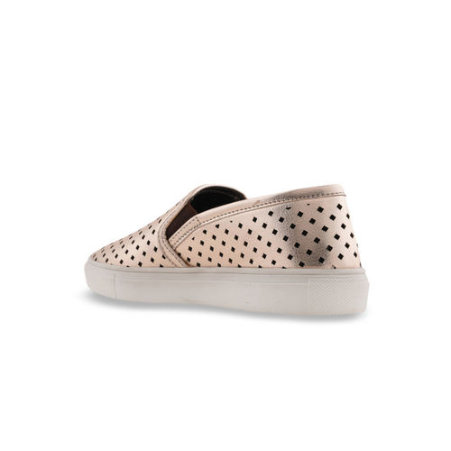 Bruno Manetti Women Gold-Toned Laser Cut Slip-On Sneakers