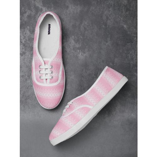 Anouk Women Pink & White Printed Sneakers