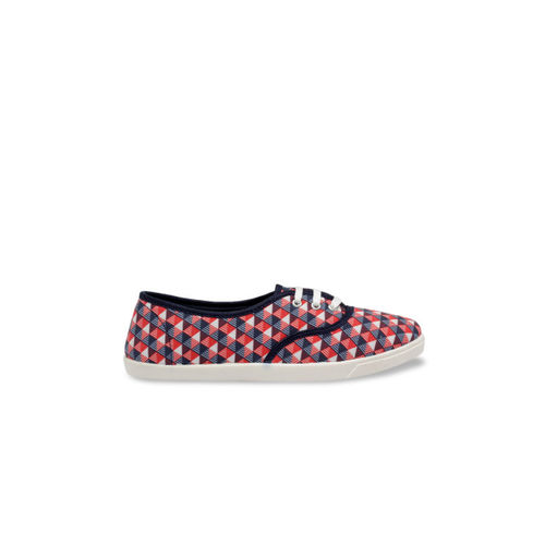 Nell Women Red & Blue Printed Sneakers