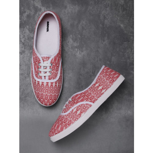 Anouk Women Red & Off-White Printed Sneakers