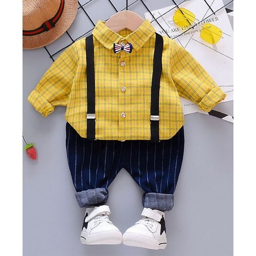 Pre Order - Awabox Checked Full Sleeves Shirt With Attached Bow & Suspender Bottom Set - Yellow