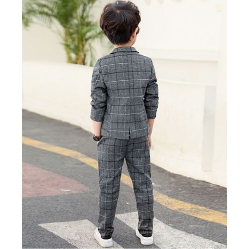 Pre Order - Awabox Checkered Front Pocket Full Sleeves Blazer With Pants - Grey