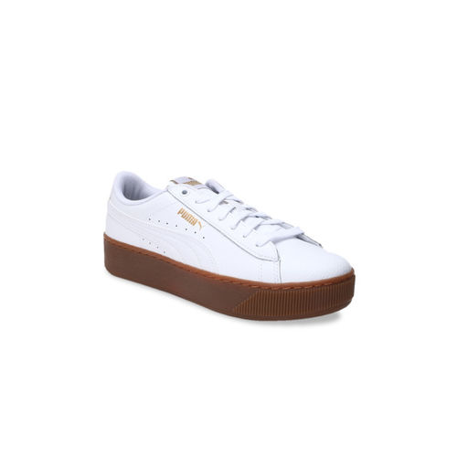 Puma Women White Vikky Platform Lthr Sneakers