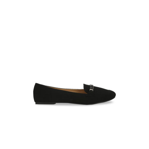 Truffle Collection Women Black Solid Loafers