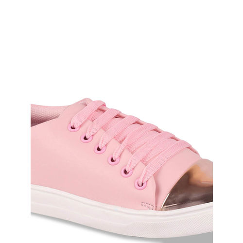 FAUSTO Women Pink & Gold-Toned Colourblocked Sneakers