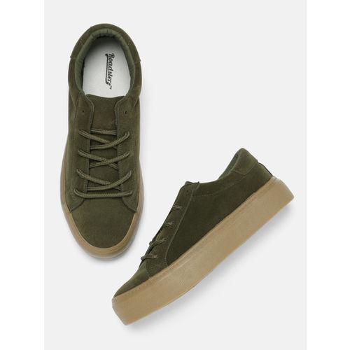 Buy Roadster Women Olive Green Sneakers
