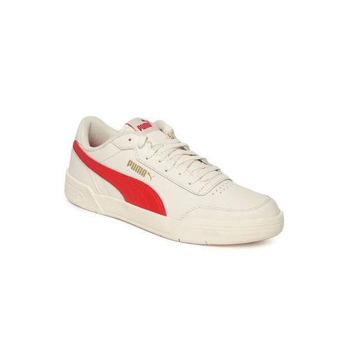 Puma Unisex Cream-Coloured Caracal Leather SoftFoam + Sneakers