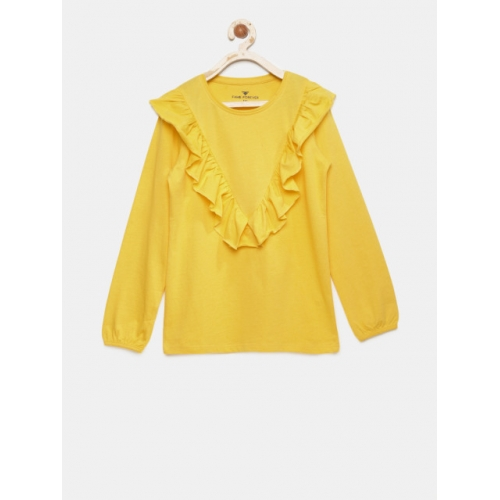 Fame Forever by Lifestyle Yellow Cotton Solid Casual Top