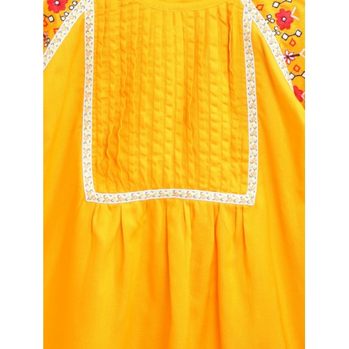 Bella Moda Mustard Yellow Viscose Solid Top with Embroidered Detail