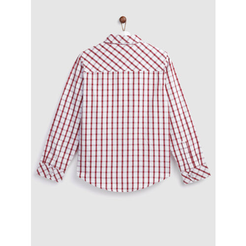 YK Boys White & Maroon Regular Fit Checked Casual Shirt