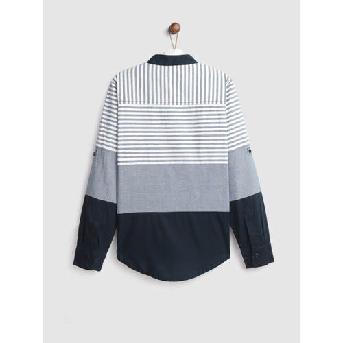 YK Boys Navy Blue & White Regular Fit Striped Casual Shirt
