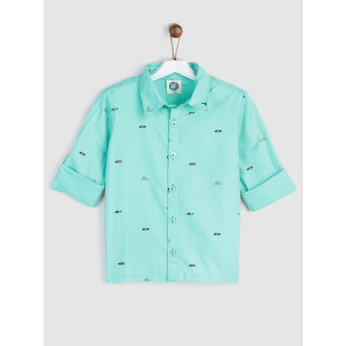 YK Boys Sea Green Regular Fit Printed Casual Shirt
