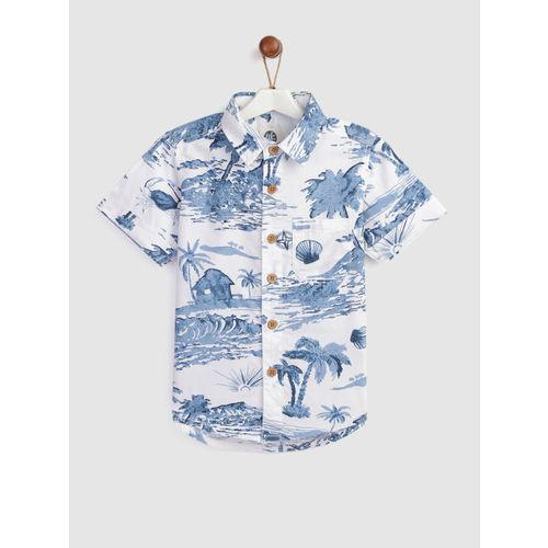 YK Boys White & Blue Regular Fit Printed Casual Shirt