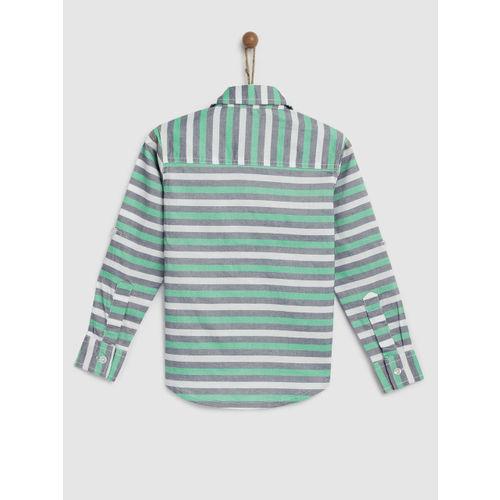 YK Boys Green & Blue Regular Fit Striped Casual Shirt