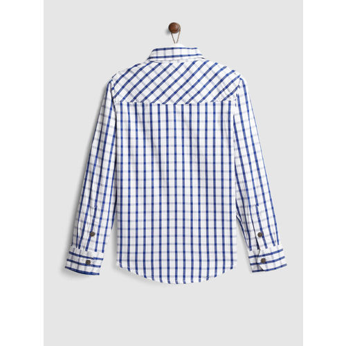 YK Boys White & Blue Regular Fit Checked Casual Shirt