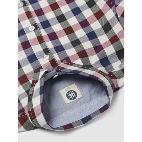 YK Boys Multicoloured Regular Fit Checked Casual Shirt