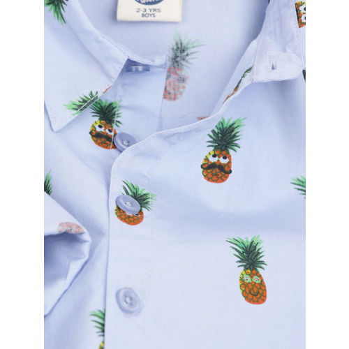 YK Boys Blue Regular Fit Printed Casual Shirt