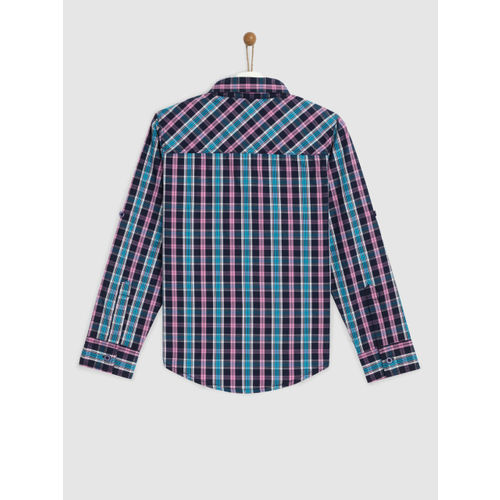 YK Boys Navy Blue & Pink Regular Fit Checked Casual Shirt