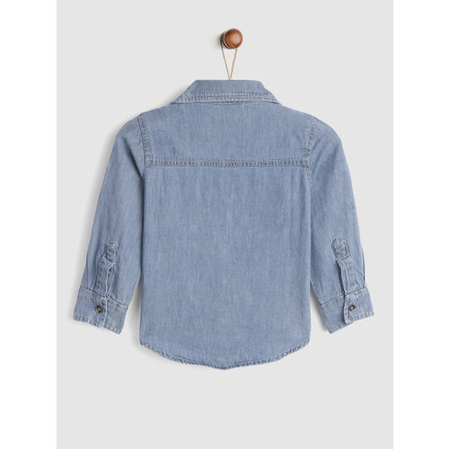 YK Boys Blue Regular Fit Solid Casual Chambray Shirt