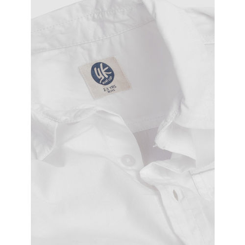 YK Boys White Regular Fit Solid Casual Shirt