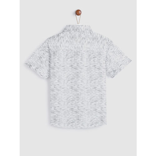 YK Boys White & Black Regular Fit Printed Casual Shirt