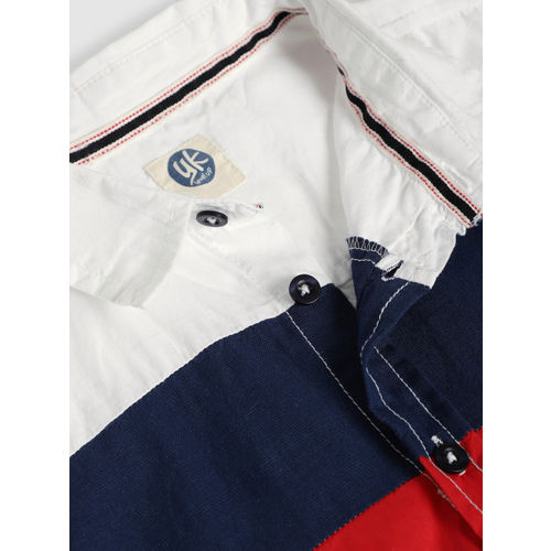 YK Boys White & Blue Regular Fit Striped Casual Shirt