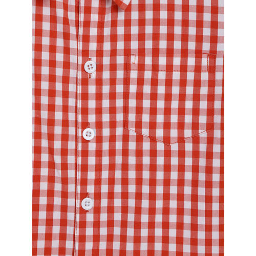 YK Boys White & Red Regular Fit Checked Casual Shirt