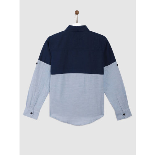 YK Boys Blue Regular Fit Colourblocked Casual Shirt