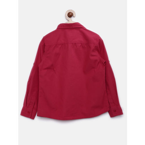 YK Boys Red Solid Casual Shirt