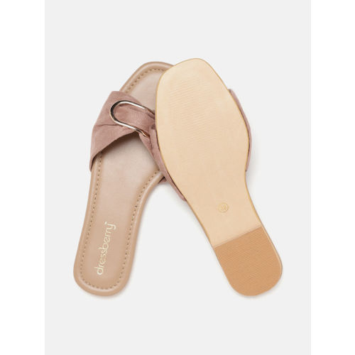 DressBerry Women Beige Solid Open Toe Flats with Metal Detail