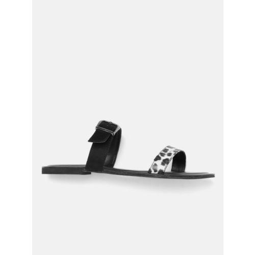 DressBerry Women Black & White Leopard Print Open Toe Flats