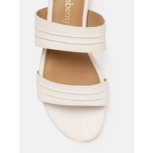 DressBerry Women White Solid Open Toe Flats