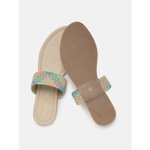 DressBerry Women Blue & Peach Woven Design One Toe Flats