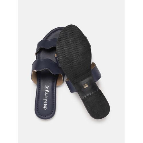 DressBerry Women Navy Blue Solid Open Toe Flats